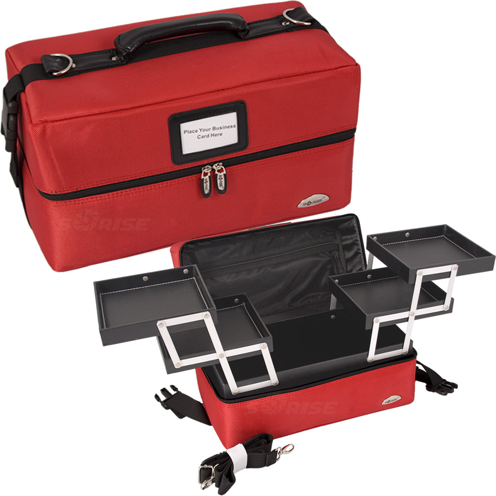 RED NYLON 2-TIERS ACCORDION TRAYS SOFT-SIDED PRO MAKEUP CASE
