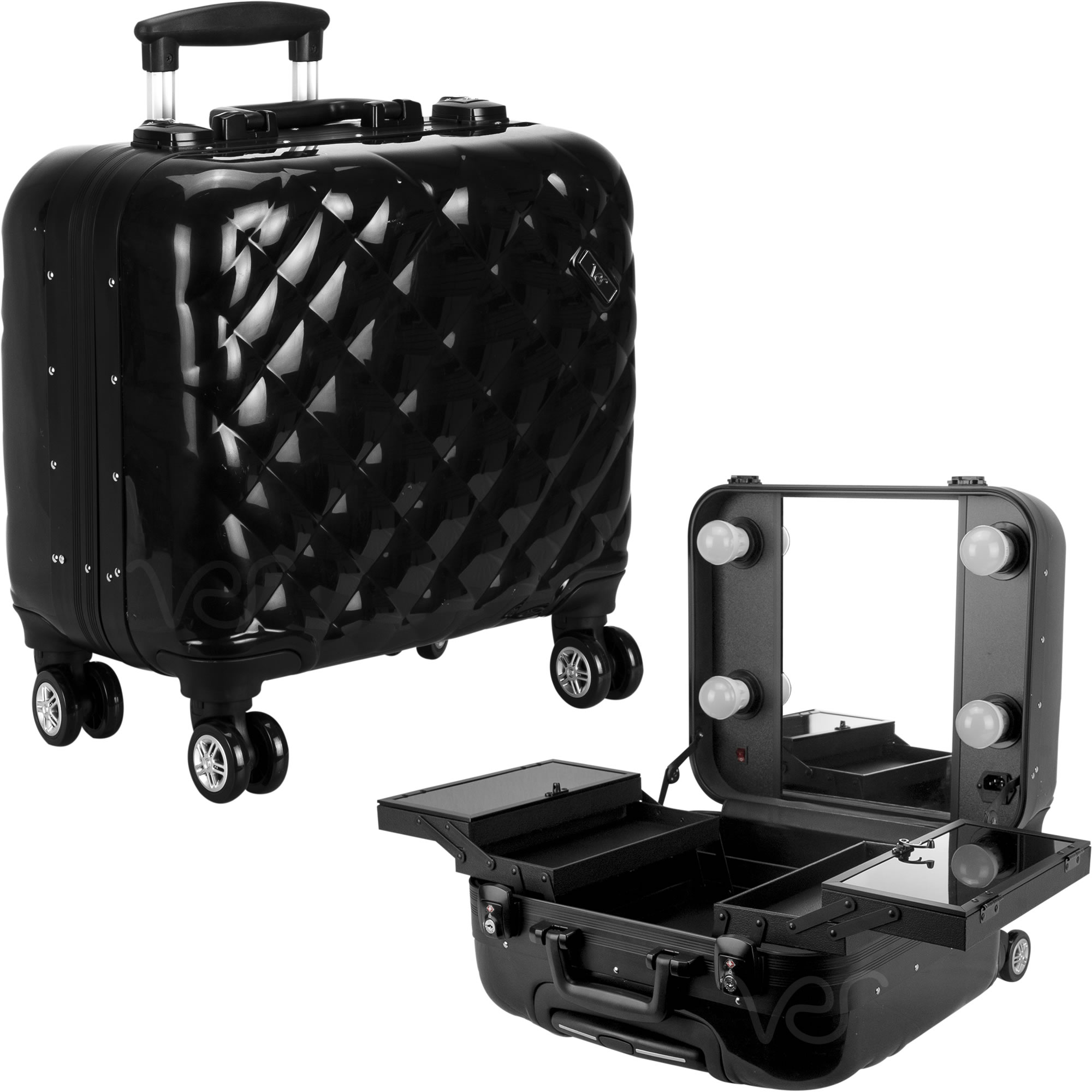 BLACK QUILTED PROFESSIONAL TRAVEL 4-WHEELS ROLLING MAKEUP STUDIO CASE WITH LED LIGHTS, MIRROR, TRAYS & TSA ACCEPTED LOCKS