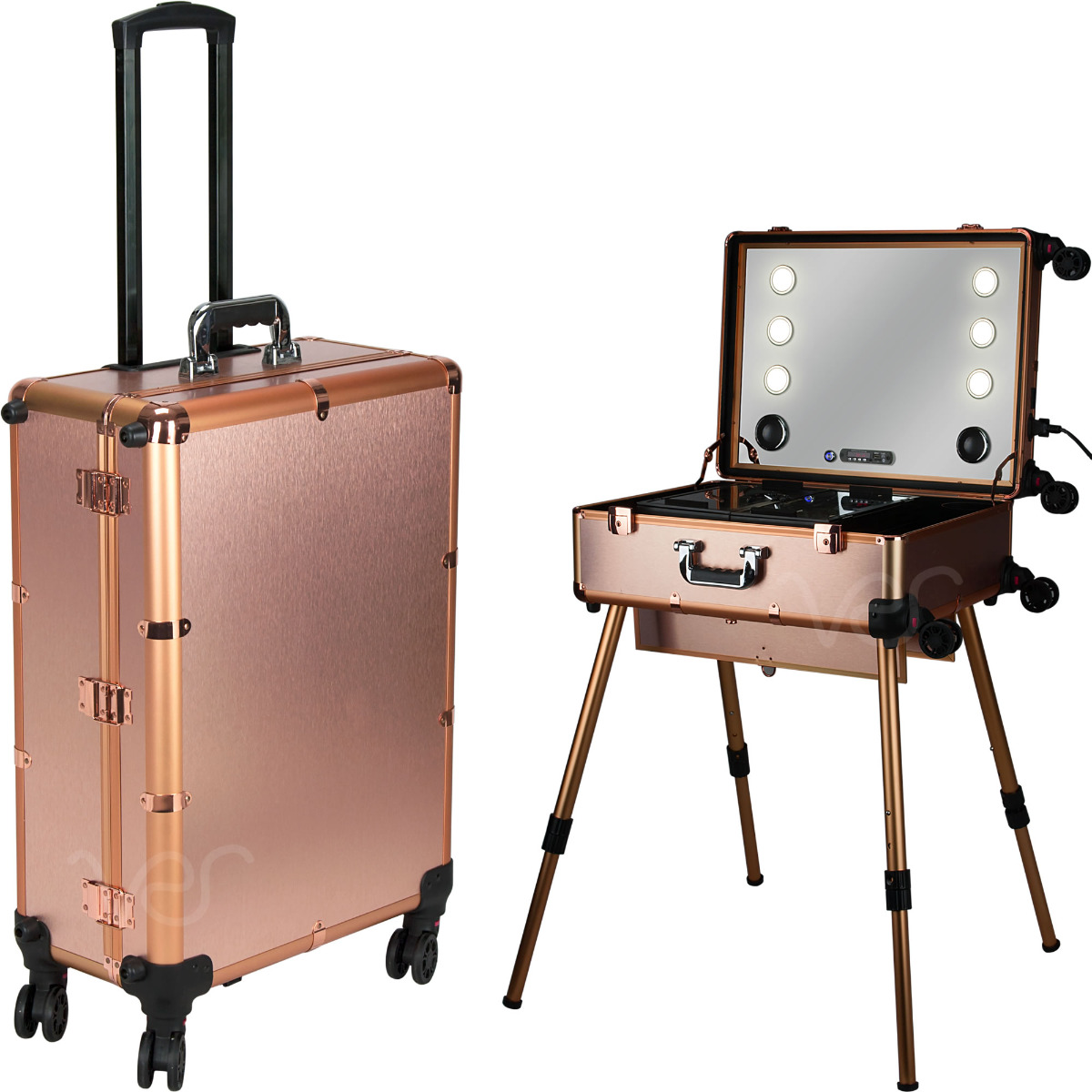 VER BEAUTY ROSE GOLD PROFESSIONAL ROLLING STUDIO MAKEUP CASE WITH TOUCHSCREEN POWER 3 TEMP LED LIGHTS, MULTIMEDIA, SPEAKERS, LEGS & MIRROR VLR003